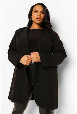 Black Plus Oversized Longline Blazer