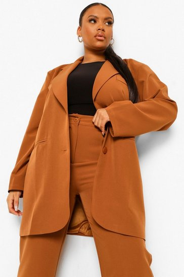 Chocolate brown Plus Oversized Longline Blazer