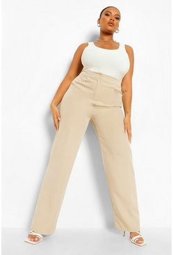 Stone beige Plus Tailored Slim Trousers
