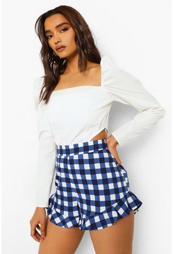 Blue Petite Gingham Print Flippy Short