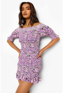 Purple Petite Ditsy Ruffle Off The Shoulder Dress