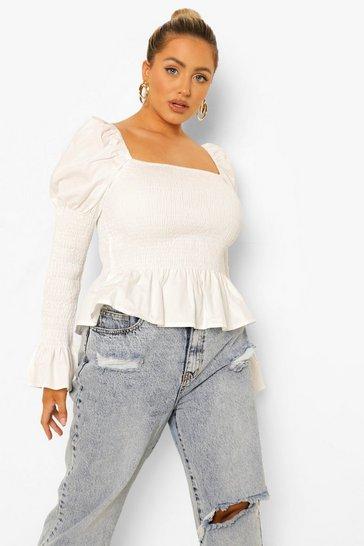 White Plus Puff Sleeve Shirred Peplum Blouse