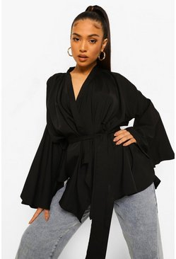 Black Petite Wrap Front Flare Sleeve Blouse