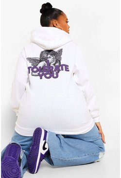 White Plus I Tolerate You Slogan Back Print Hoody