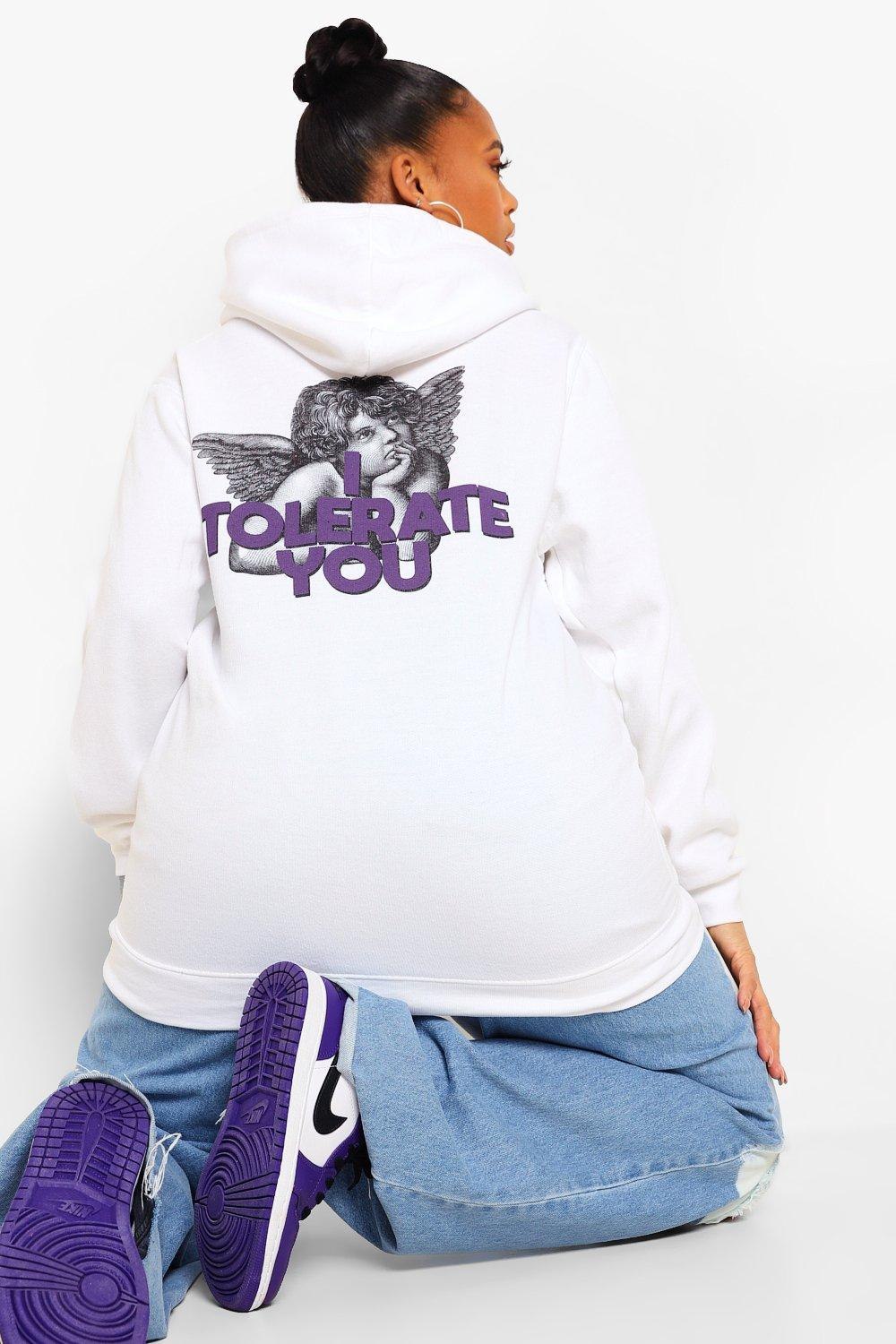 Plus I Tolerate You Slogan Back Print Hoody 12