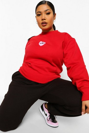 Red Plus U Up Slogan Sweatshirt