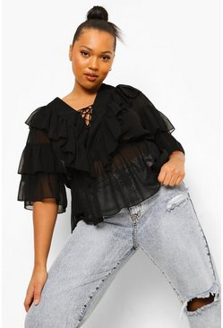 Black Plus Geweven Peplum Blouse Met Ruches En Veters