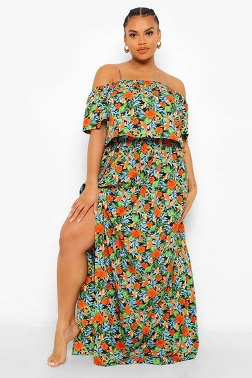 Black Plus Tropical Bardot And Skirt Co-ord