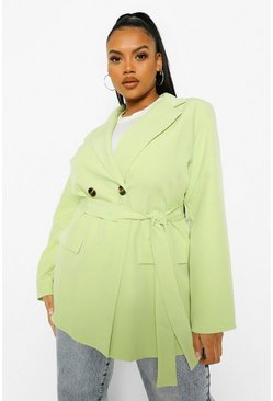Washed lime yellow Plus Belted Oversized Blazer