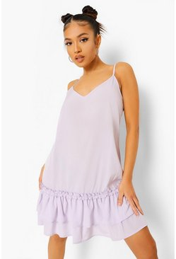 Lilac purple Petite Ruffle Hem Cami Dress