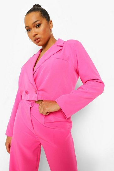 Hot pink pink Plus Cropped Blazer