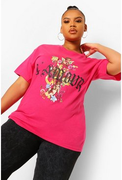 Hot pink pink Plus L'Amour Cherub Floral Back Print T-Shirt