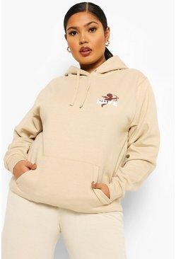 Sand beige Plus Nope Cherub Pocket Print Slogan Hoody