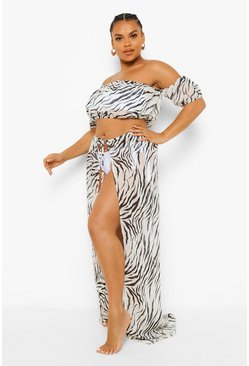 Black Plus Zebraprint Chiffon Strand Set