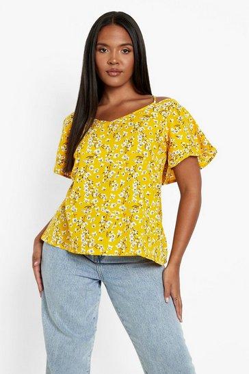 Yellow Plus Cold Shoulder Ditsy Floral Blouse