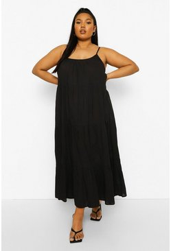 Black Plus Tiered Cotton Maxi Dress