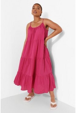 Pink Plus Tiered Cotton Maxi Dress