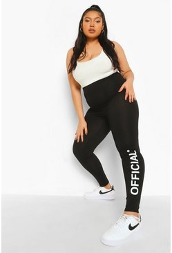 Black Plus Official Leggings Met Opdruk