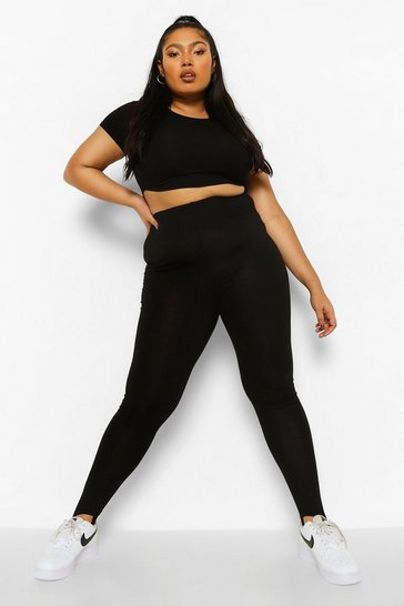 Black Plus Stirrup Super High Waisted Legging