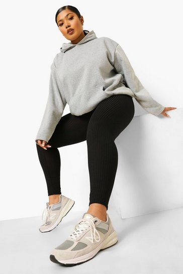 Black Plus Wide Rib Legging
