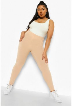 Stone beige Plus Wide Rib Legging