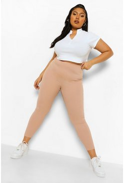 Stone beige Plus - Ribbade leggings i skinny fit
