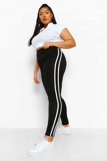 Black Plus High Waist Side Stripe Leggings