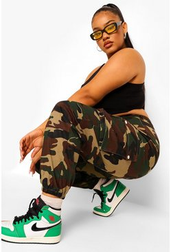 Khaki Plus Colour Block Camo Cargo Broek
