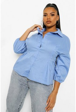 Dusty blue blå Blue Plus Corset Waist Peplum Poplin Shirt