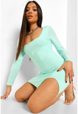 Mint green Petite Double Layer Slinky Square Neck Dress