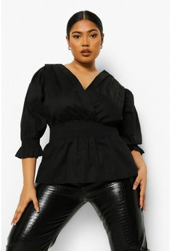 Black Plus Wrap Front Puff Sleeve Peplum Blouse
