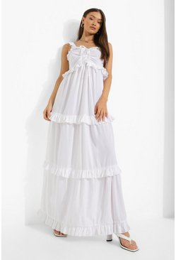 White Petite Ruched Front Ruffle Detail Maxi Dress