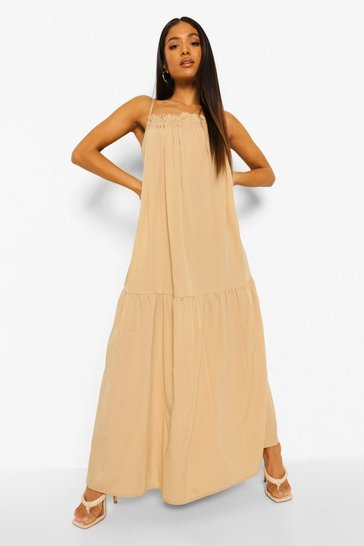 Sand beige Petite Strappy Woven Maxi Dress