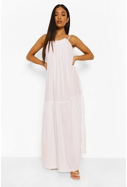 White Petite Strappy Woven Maxi Dress