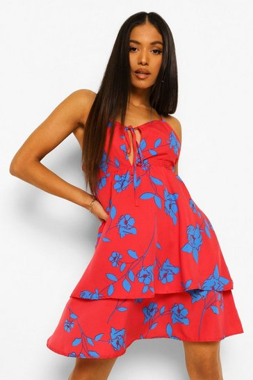 Red Petite Floral Tie Front Ruffle Mini Dress