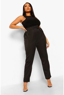 Black svart Plus Tapered Pleat Detail Cigarette Trouser
