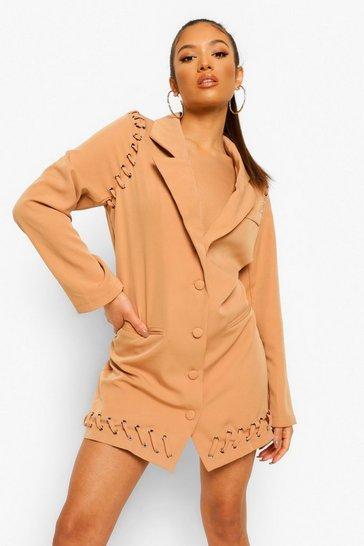 Camel beige Petite Lace Up Detail Blazer Dress