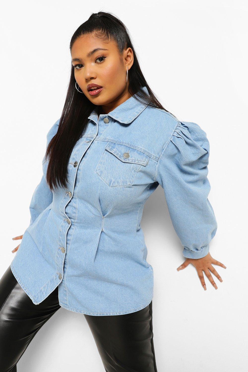 Plus Cinched Oversized Denim Shirt 5