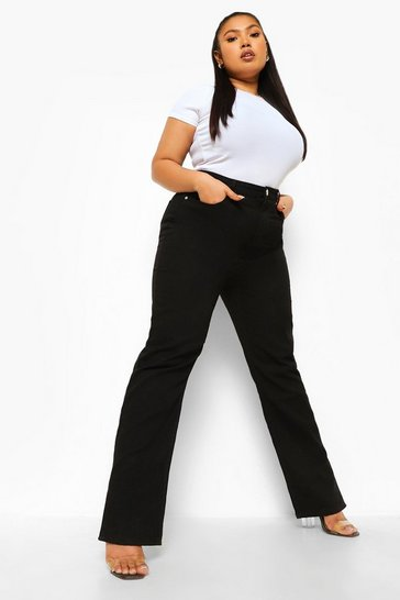 Black Plus Split Hem Jean