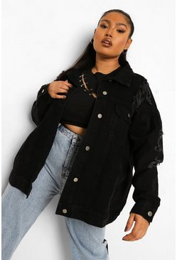 Black Plus Oversized Busted Boyfriend Denim Jacket