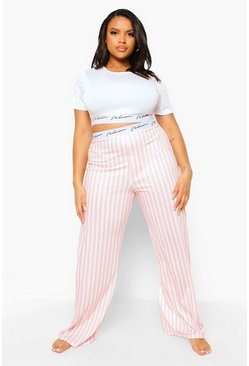 Baby pink pink Plus Woman Tape Stripe Pyjamas