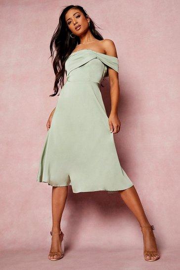 Sage green Petite Drape Detail Bardot Midi Dress