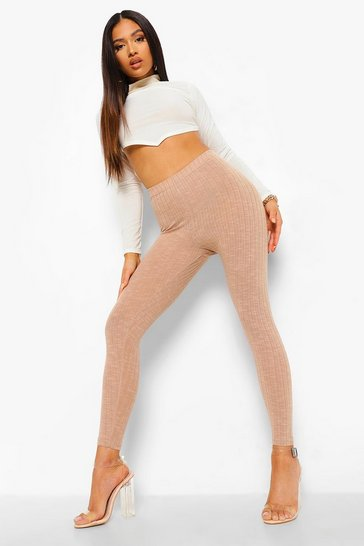 Sand beige Petite Ruched Bum Soft Knit Legging