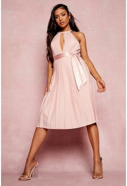 Rose pink Petite Pleated Belted Midi Skater Dress