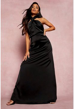 Black Petite Satin Twist Front Maxi Dress