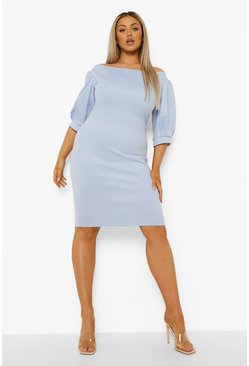 Light blue blue Plus Occasion Off The Shoulder Midi Dress