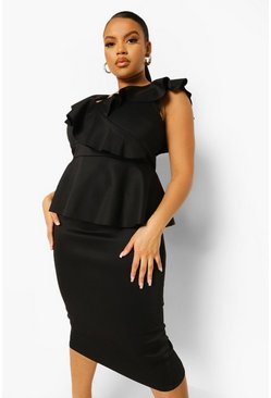 Black Plus Occasion Ruffle Peplum Midi Dress