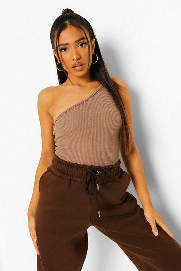 Mocha beige Brown Petite Crinkle Asymmetric Strappy Bodysuit