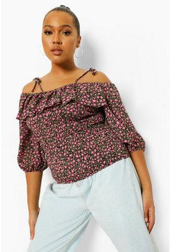 Pink Plus Floral Cold Shoulder Ruffle Top