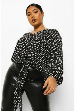 Black Plus Abstract Print Tie Front Blouse